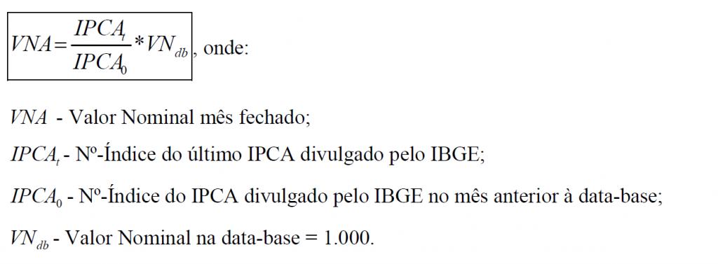 Fórmula VNA IPCA Anbima no dia 15