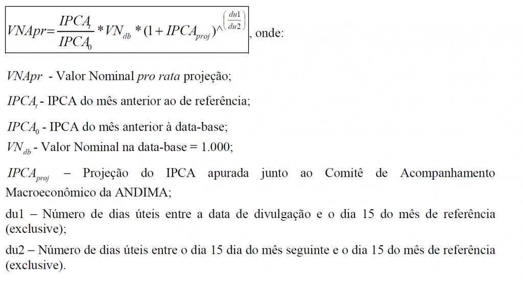 Fórmula VNA IPCA Anbima Projeção