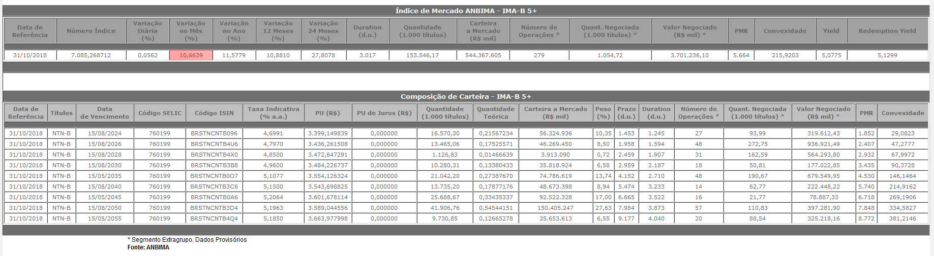 Ima-b 5+ anbima 10,66% rentabilidade no mês renda fixa